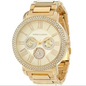 Vince Camuto Swarovski Crystal Accented Gold Watch